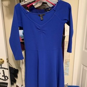 Blue 3/4 length sleeve skater dress